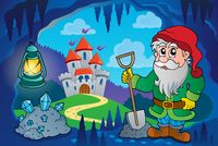 Dwarf in fairy tale cave - picture illustration.