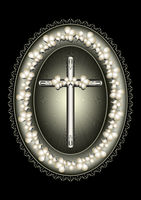 Oval silver frame with cross framed lace border