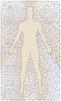 High tech circuit board man silhouette. Computer digital art