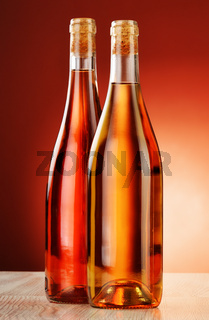 Two bottles of wine on the table