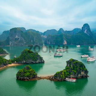 Tourist junks in Ha Long Bay, Vietnam