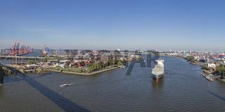 Blick von der Köhlbrandbrücke auf den Hamburger Hafen, Hamburg, Deutschland, Europa