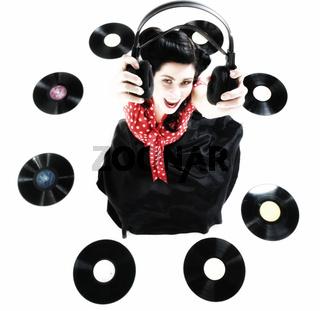 Pin-up girl style retro woman analogue record