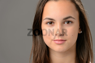 Teenage girl beauty face cosmetics close-up