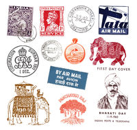 Postage stamps and labels from India