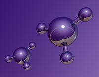 abstraktes molekülmodell auf lila hintergrund - 3d illustration