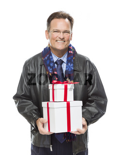 Man Wearing Black Leather Jacket Holding Christmas Gifts on White
