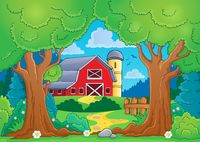 Tree theme with farm 4 - picture illustration.