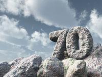 nummer siebzig aus stein - 3d illustration
