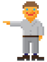 Pixel art style man with pointing hand gesture