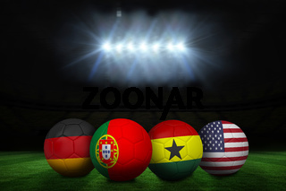 Footballs in group g colours for world cup