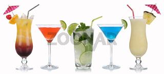 Gruppe von Cocktails isoliert
