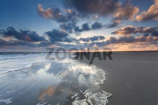 North sea coast at sunrise on Dutch island