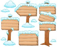 Wooden signboard theme image 5 - picture illustration.