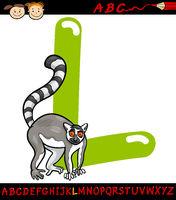 letter l for lemur cartoon illustration