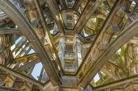 Turmspitze von innen, Treppenaufgang zur Aussichtsplattform, Ulmer Münster, Ulm, Baden-Württemberg, Deutschland, Europa