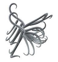 abstraktes tentakelgebilde aus metall - 3d illustration