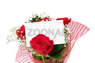 Roses bouquet and paper card