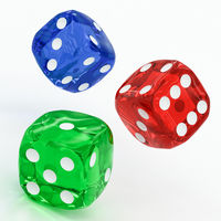 three dices falling