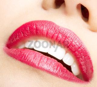 Smiling female mouth closeup shot