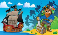 Pirate on coast theme 2 - picture illustration.