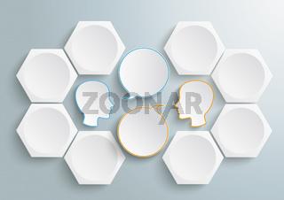 6 Hexagons 2 Heads Speech Infographic PiAd