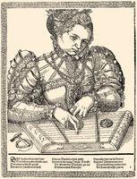 Woman playing a dulcimer, 16th century