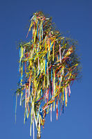 Maypole with colourful belts in Mechernich-Kommern
