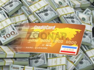 Credit card on dollar packs background.