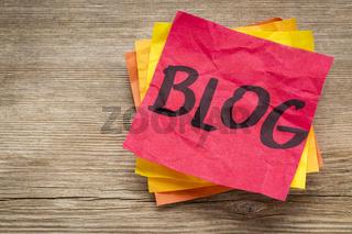 blog word on a sticky note