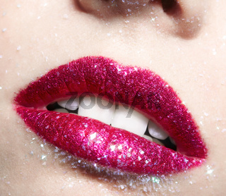 Shining woman lips makeup