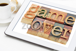 game over in wood type