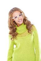 Happy Woman in Yellow Green Longs Sleeve Shirt