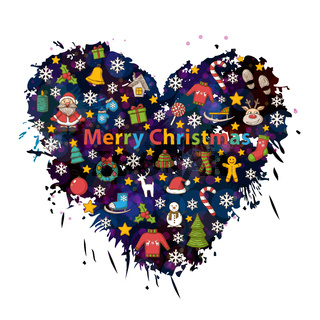 Merry Christmas  in the form of heart background