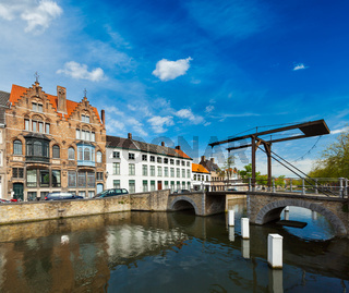 Canal with old bridge. Bruges (Brugge)