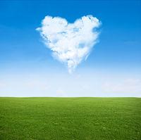 field clouds in shape of heart