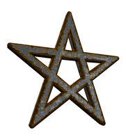 rostiges pentagramm auf weißem hintergrund - 3d illustration