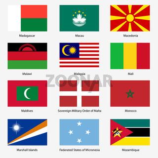 Set  Flags of world sovereign states. Vector illustration. Set number 10.