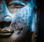 ancient stone buddha closeup