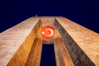 Canakkale Martyrs' Memorial At Night With Turkish