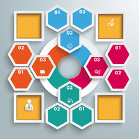 Big Circle Colored Infographic Honeycomb 4 Squares PiAd