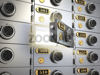 Safe deposit boxes in a bank vault. Banking concept.