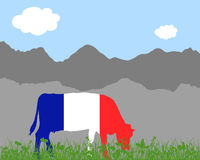 Kuh Alm und Frankreichfahne - Cow alp and french flag