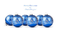 Blue Christmas balls with silver ornament isolated on white background