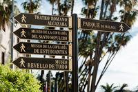 Tourist signpost in Malaga. Andalusia, Spain