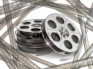 Film reels  and movie film strips.