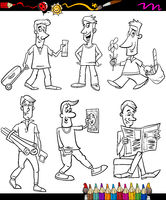 men set cartoon coloring book