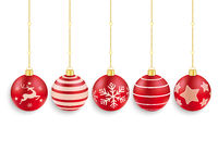 5 Red Christmas Baubles White Background