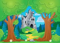 Tree theme with castle ruins - picture illustration.