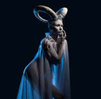 Female with goat body-art. Chinese Horoscope 2015 - Year of the Goat (Sheep)